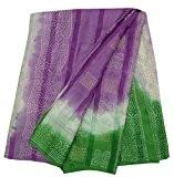 Vintage Indien Pure Khadi Soie Saree Violet Bandhani Imprimé Sari Artisanat Tissu