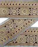 Vintage Sari Border Antique brodé Indian Garniture Craft 1YD Gris Ruban Dentelle
