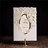 VStoy 2016 Plus élégant laser coupé l'or d'estampillage Invitations de mariage de fleur Invitations nuptiales de douche Invitations de partie ...