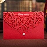 VStoy Kit Wedding Invitations Cut 20PCS Wishmade laser rouge bristol pour le mariage Mariage floral de fiançailles invitations Cartes avec ...