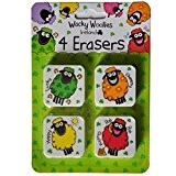 Wacky Woollies Ireland 4 Pack Erasers With Multi-Coloured Sheep Design