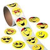 WINOMO Smiley Jaune Visage Heureux Autocollants 3,8 cm Cercle Enseignant étiquettes 100 Total