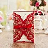 wishmade Rouge Couleur Or en aluminium découpé au laser en dentelle de mariage Invitations Cartes de Fête d'anniversaire de mariage ...