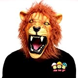 Xiao Mo GU Décorations Halloween en latex pour adulte et enfant Masque Tête Cheval animal lion