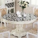 XMMLL Chiffons d'Pvcround-Table sets de table ronde nappe imperméable résistante à l'encontre de repose-fer Money-Plastic,clavier nappe fleurs en verre noir, ...