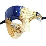 xvevina Demi Visage hommes Masque vénitien masque de mascarade pour bal masqué/Costume Party Taille unique blue/gold musical