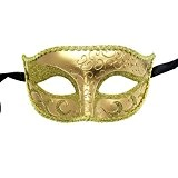 xvevina Femme Sexy Minuit Noir vénitien Mascarade Masque Parti Carnaval Balle, Taille unique Taille unique doré