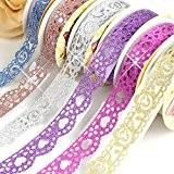 Y & B Washi Tape, ruban, Washi Tape Ruban adhésif de masquage DIY Diamant Glitter Bling autocollant Scrapbooking Motif dentelle ...