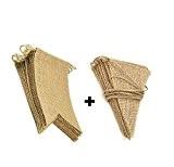Yalulu 2Pcs fanions en lin en toile de jute drapeau bannière fanion tissu Guirlandes Drapeaux Triangle Double face Chiffon Vintage ...