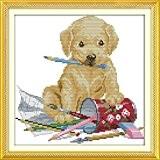 YEESAM ART Nouveau Point de Croix Kits de Broderie au Avancée - Peinture Dog 14 Comptage 28×28 cm Blanc Toile ...