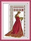 YEESAM ART Nouveau Point de Croix Kits de Broderie au Avancée - Robe rouge l'ange Angel 14 Comptage 41×53 cm ...