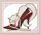 YEESAM ART Nouveau Point de Croix Kits de Broderie au Avancée - Rouge Mode Chaussures à talons hauts Chat 14 ...