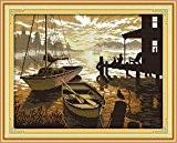 YEESAM ART Nouveau Point de Croix Kits de Broderie au Avancée - Sunset Paysage 14 Comptage 41×33 cm Blanc Toile ...