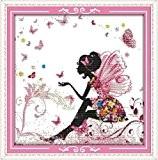 YEESAM ART Nouveau Point de Croix Kits de Broderie au Avancée - Une fleur Fée Papillon 14 Comptage 34×34 cm ...