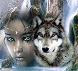 ytg nouvelle arrivée de Croix broderie DIY Diamant Peinture Femme avec Wolf complet mosaïque photo Motif point de croix strass, ...