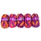 Yunt Pelote de Laine 100% Multicolore a Tricoter Pas Cher pour Chapeau Echarpe Vêtement Bébé (Lot de 5 pelote, 100g/pelote)