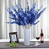 1 Bounquet Jasminum artificielle Fleur artificielle pour Home Decor sans Vase & Basket, 1Bunch de Fleur, Bleu