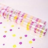100m x 80cm Rouleau Papier emballage Film Cellophane Multicolore Impressions petites Fleurs - Rose, Orange, Vert sur papier transparent - ...