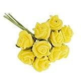 100pcs Mini Roses Fleurs Artificielles Décoration de Bouquet de Mariage - Jaune