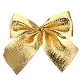 12pcs Nœuds Papillons Multicolores Décorations de Pendentif Cadeaux pour Fête de Noël - Or, XL
