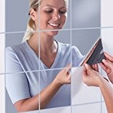 16PCS miroirs décoratifs de mur de DIY par TimeCollect, 15cm x 15cm, surface réfléchissante Auto-adhésifs Mosaic Tiles Miroir Wall Stickers ...