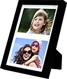 17 x 23 cm Cadre Multi Photo avec Passe-Partout pour 2 photos 10 x 15 cm, Noir