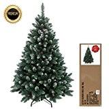 180 cm arbre sapin de Noël artificiel avec de la neige et de pommes de pin