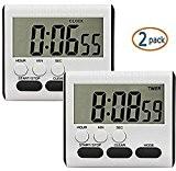 2 PACK EVELTEK Numérique Minuteur/Réveil avec Alarme Vort Grand Afficheur LCD, Compte à rebours ou le Décompte pour Cuisson/école/Games (touche ...