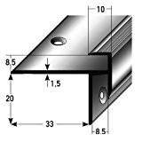 2 x 2,5 mètres Stratifié-Nez de marche / cornière pour escaliers, 8,5 mm de haut, 33 mm de large, Aluminium ...