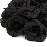 20pcs Corolle de Rose Fleur Artificielle DIY Décoration de Boutique de Mariage Noir