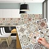 25 carrelage 20x20 cm - PS00058 PVC autocollants carreaux pour salle de bains et cuisine Stickers design - Carrara