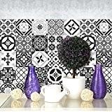 25 carrelage 20x20 cm - PS00063 PVC autocollants carreaux pour salle de bains et cuisine Stickers design - Ebony and ...