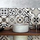 25 carrelage 20x20 cm - PS00089 PVC autocollants carreaux pour salle de bains et cuisine Stickers design - Braga