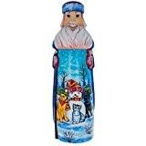 27,9cm Bonhomme de neige avec chien et chat amis sculpté à la main en bois Père Noël