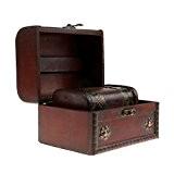 2pcs Rétro Style Boîte Organisateur Coffret en Bois de Grande et Petite Taille à Rangement de Bijoux - Marron