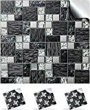 30 Stickers muraux de carrelage mosaïque auto adhésif pour des carreaux de 10cm –(30xTP 71 - 4in- Black & Silver ...