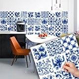 36 carrelage 15x15 cm - PS00067 PVC autocollants carreaux pour salle de bains et cuisine Stickers design - Bleu arabesque