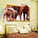 3D Africaine éléphants en PVC Sticker mural Sticker Home murales en vinyle Papier peint papier Décoration Maison Salon Chambre Cuisine ...