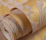3D En Relief Salon Papier Peint Non Tissé Studio De Style Européen Chambre Restaurant Papier Peint Vintage Toile De Fond,Yellow