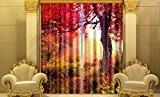 3D Motif arbre Rouge Impression UV Rideau occultant la personnalité de 2panneaux, Taille totale 152,4x 166,4cm + crochets Design Paysage ...