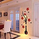 3D Stickers muraux - Décoration de maison - DIY Vase Fleur arbre de cristal acrylique Decal (A)