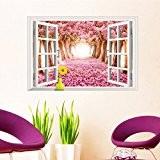 3D style maison arbres Avenue Faux fenêtre Paysage 3D Sticker mural Motif cerisier en fleurs Salon Papier peint chambre amovible ...