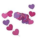 4m Guirlande Décoration à Suspendre Coeur de Papier pour Mariage Fête de Naissance Couleur 1#