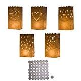 50 lanternes blanches en papier avec bougies chauffe-plats par Kurtzy TM.