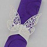 50pcs Anneau Forme Papillon Serviette Boucle Décoration de Table de Mariage - Blanche