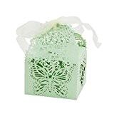 50pcs Boîtes en Papier de Bonbons de Gateau en Motif de Papillon Décoration pour Mariage Banquet Anniversaire - Vert