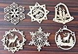 6x fenêtre Bois–Bois Pendentif–Décorations de Noël–Pendentif Sapin de Noël–Bois Pendentif–Fenêtre Déco Noël
