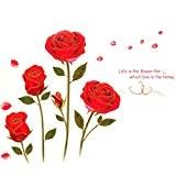 75cm * * * * * * * * 120cm rose rouge en vinyle PVC DIY papier peint Sticker Mural ...