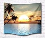 A.Monamour Coucher De Soleil Coucher De Soleil Océan Mer Île Tropicale Palmier Paysage Pittoresque Image Fonds D'Écran Mur Suspendus Tapisserie ...