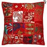 Aakriti Gallery Housse de coussin en coton faite main Patchwork/broderie indienne Kantha Style vintage, Coton, Red 2, 41x41 cm